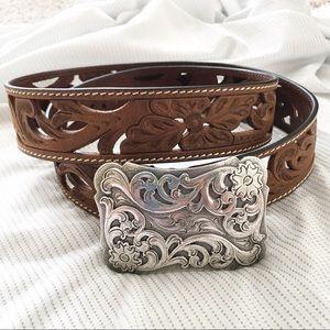 3D Belt Brown Leather Silver Buckle Belt